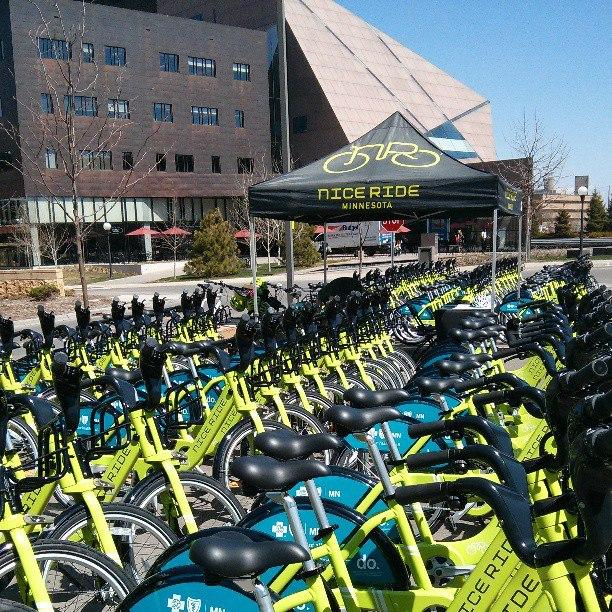 Nice Ride bikes outside MacNamara Center